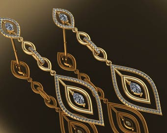 14K Yellow Gold Earring with White Diamonds M-ER1011