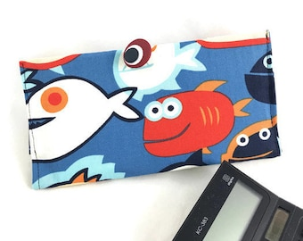 Fun checkbook cover with fish print fabric