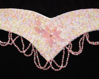 BDBE2 Sequin belt, Small size belly dance belt, Cream-pink belly dance belt, Belly dance, Cream-pink sequin belt, Belly dancing belt