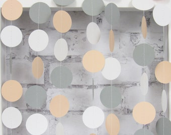 Peach and White Paper Garland - Peach Circle Garland - Gray and Peach Baby Shower