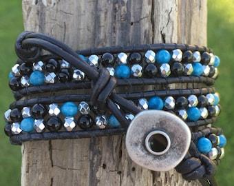 Black & turquoise double wrap bracelet