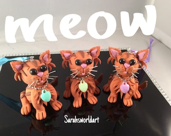 Hanging & freestanding polymer clay Ginger Tabby Cats