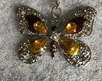 Butterfly gemstone keyring