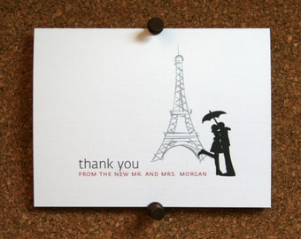 Eiffel Tower Wedding Stationery / Bridal Thank Yous / Note Cards / Custom / New Couple / Wedding Gift / Paris / France / Set of 10