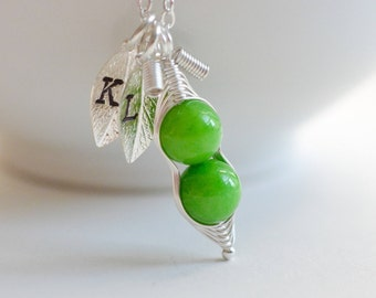 Green Peas in a Pod Necklace, Jade Necklace, Sweet Pea Baby Necklace, Pea Pod Necklace, Personalized Initial Necklace, Best Friend Birthday