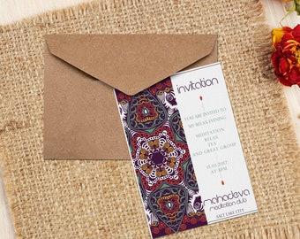 Mandala Event Invitation-Custom Text-Colorful Invitation-Estoreic Mandala Invitation