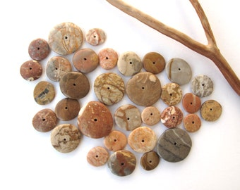 Beach Stone Jewelry Beads Donut Rocks Mediterranean Centre Drilled Natural Stones River Stones Pairs Small WONDER DONUTS 12-23 mm