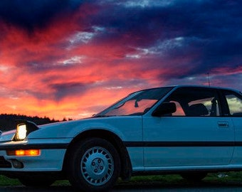 88 Prelude SI 4WS , Landscape Photography, Metal Print, Large Prints, Humboldt County CA, Classic Cars, Sunsets, DJerniganPhoto