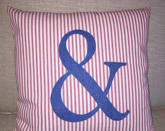"Ampersand - Red Ticking Appliqued Farmhouse Pillow Cover -18"" Square"