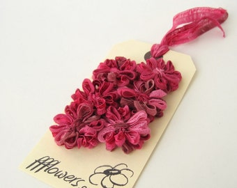 Flower Appliques in Raspberry Pink Ribbon