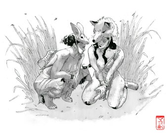 FOX and HARE PRINT