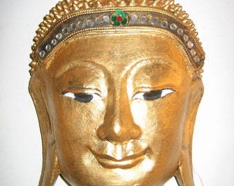 Hand Carved Wooden Buddha Mask from Thailand