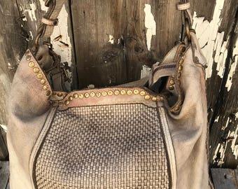 Super Distressed Soft Leather Micro-Woven Italian Handbag
