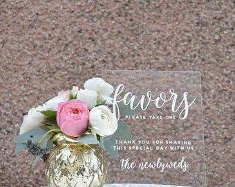 Acrylic Favor Sign - 8x10 - Acrylic Wedding Sign
