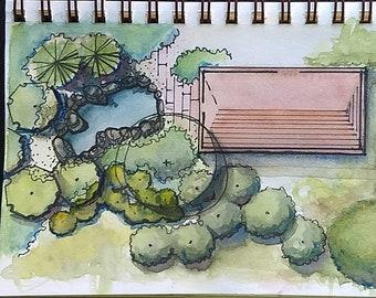 Landscape design with pond