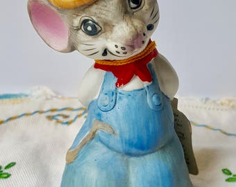Vintage Jasco  Mouse Bell Figurine, 1980 Jasco Handcrafted In Tawain, Mr Country Mouse, Fine Quality Bisque Porcelain Bell