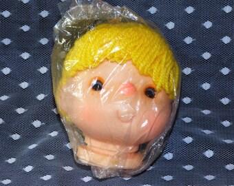 "Vintage Small 4"" Blonde Ponytail Doll Head/Hands Set"