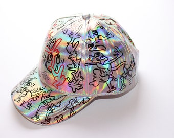 One of a kind cap with custom doodle Size L 58 cm