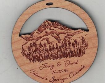 Laser Engraved Cherry wood custom memorial or wedding favor ornament - Quantity of 125