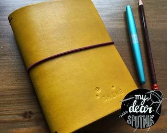 MydearSPUTNIK travelers Notebook io, Fauxdori, size A6 Gold Brass