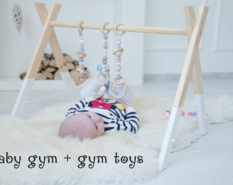 Baby gym with pink gym toys / Perfect nursery decor / Stylish activity center