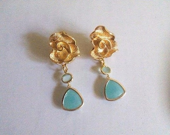 Aqua mint chalcedony gold gemstone stud clip on earrings Wedding drop bridesmaid jewelry Gift for her girlfriend wife daughter mom from son