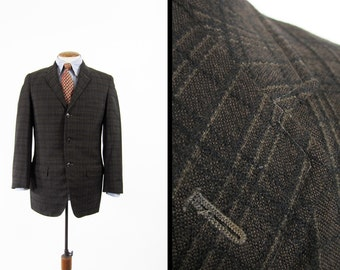 Vintage 60s Brown Plaid Sport Coat Black Tartan Thin Lapel Tailored Suit Jacket - Size 38