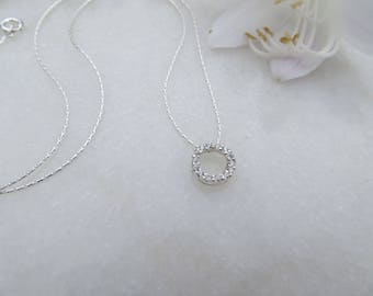 Circle Necklace, April Birthstone Necklace, Sterling Silver Necklace, Cubic Zirconia Necklace, CZ Birthstone, Minimal Tiny Circle Necklace