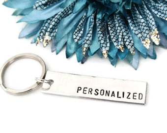 Personalized Keychain Custom Hand Stamped Keychain | Aluminum | Girlfriend Gift | Boyfriend Gift | Personalized Gift | Best Friend Gift