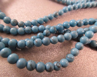 Dyed Blue Howlite 4mm Round Beads 105pcs