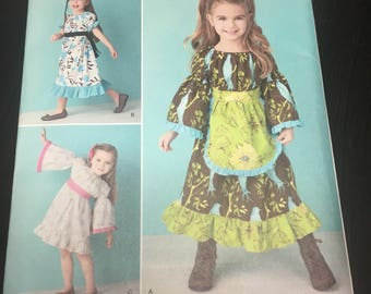 UNCUT Simplicity Sewing Pattern 1595- Girl's Peasant Dress Sizes- 1/2-3