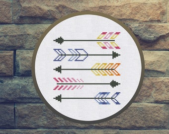 Arrows Cross Stitch Pattern Instant Download PDF Counted Chart Modern Embroidery