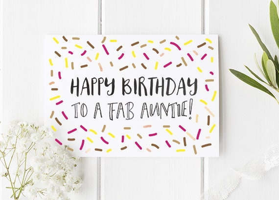 Auntie birthday card happy birthday to a fab auntie cute like this item bookmarktalkfo Choice Image