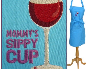 Mommy's Sippy Cup & Wine Glass Mother's Day Gift Custom Monogram Custom Embroidered