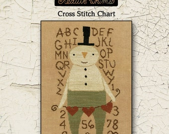 Snowmen | Primitive | Cross Stitch Chart | Downloadable PDF | EPattern | Needlework | DIY | Crafts | Stu Snowman | XS113