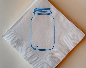 Mason Jar Beverage Napkins / Set of 50 / Perfect for Weddings and Birthday Parties