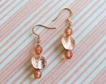 MONEY TREE - Copper Leaves  Dangle Earrings - Fall Jewelry
