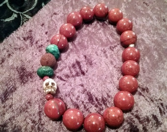 Natural Gemstone Aromatherapy Bracelets Lava and Jasper
