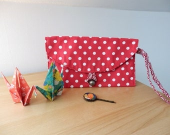 Pocket with button strap made of cotton, lined. Makeup bag or storage. Bikini collection.