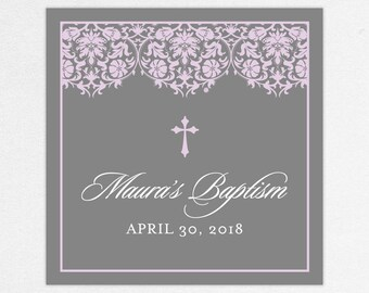 Baptism Favor Tag, Baptism Favor Label, Christening Favor, Christening Favor Label, Print, Floral, Damask, Lace, Girl, Gray, Purple, Maura
