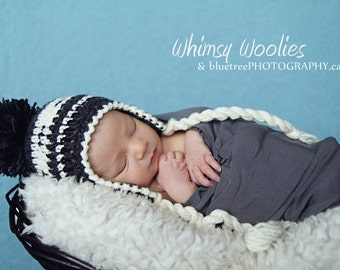 "Baby Crochet Hat Pattern: ""Lil' Papoose"", Earflap Crochet Beanie, Native Design"