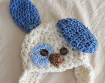 Baby Hat - Baby Puppy Hat - Baby Boy  Puppy Dog Hat - Spotted Puppy Cute and Soft Earflap - by JoJosBootique