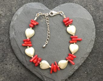 Handmade Heart and Coral stick bracelet