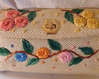 Vintage Straw Raffia Flower Handbag Pink Blue Green Yellow Orange Raffia Flower Purse Straw Pocketbook