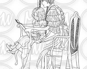 Mother & Child, Printable Coloring Page, Digital Stamp, Black, white illustration Coloring Book, Instant download, Line Art, Wall Art #033