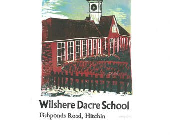 Wilshere Dacre School Reduction Lino and Letterpress Print