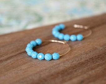 gold filled bright blue czech glass hoop earrings