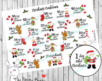 Christmas Countdown - Planner Stickers for Happy Planner, Erin Condren, Filofax, Kikkik (S010)
