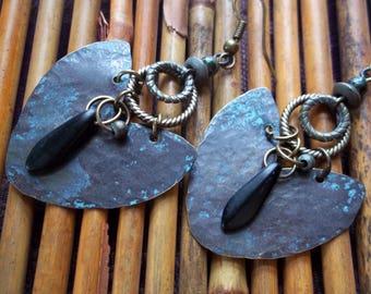 Tribal Earrings-Bohemian Earrings-Rustic Earrings-Brass Earrings-Patina Earrings-Unique Earrings-Artisan Earrings-Tribal Jewelry