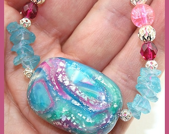 Tropical Paradise...Aquamarine, Pink, and Silver Necklace, Beaded Necklace SRAJD